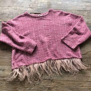 Zara Trafaluc Fleece Shirt Feather Bottom Medium